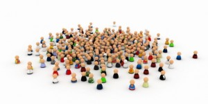 Large crowd made of small symbolic 3d figures