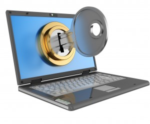 3d illustration of laptop computer locked by key, isolated over white