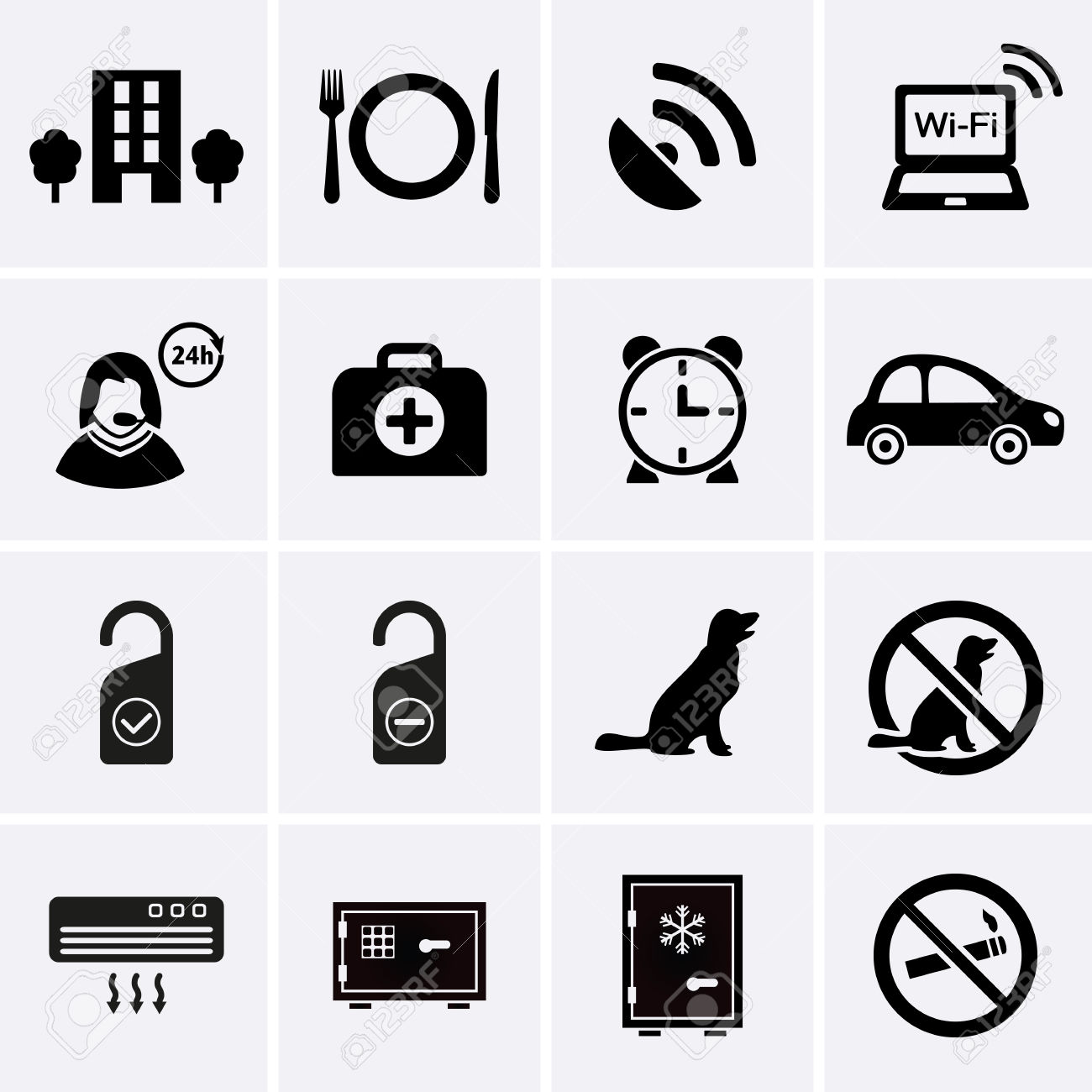 Hotel Services And Facilities Icons Set 2 Vector