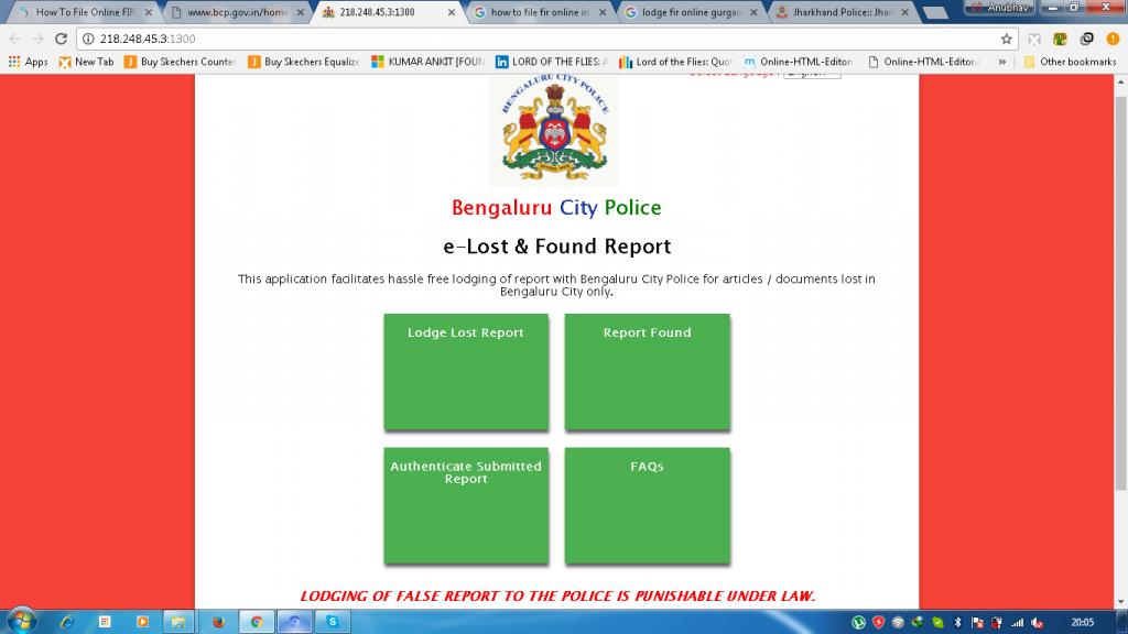 Bangalore police online portal