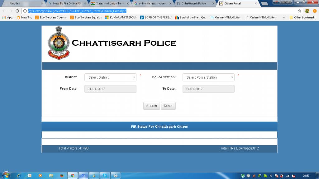 Chattishgarh police online portal