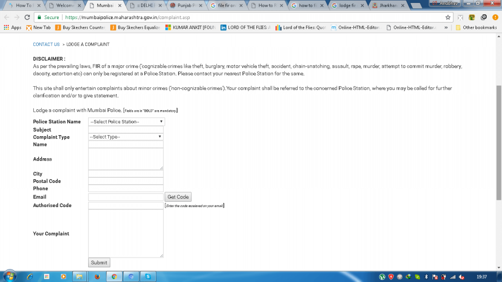 How to file police complaint online mumbai police online portal spiritdancerdesigns Image collections