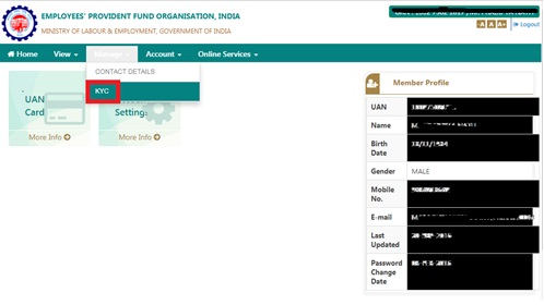 Updating KYC details in Employees Provident Portal - Step by step Guide